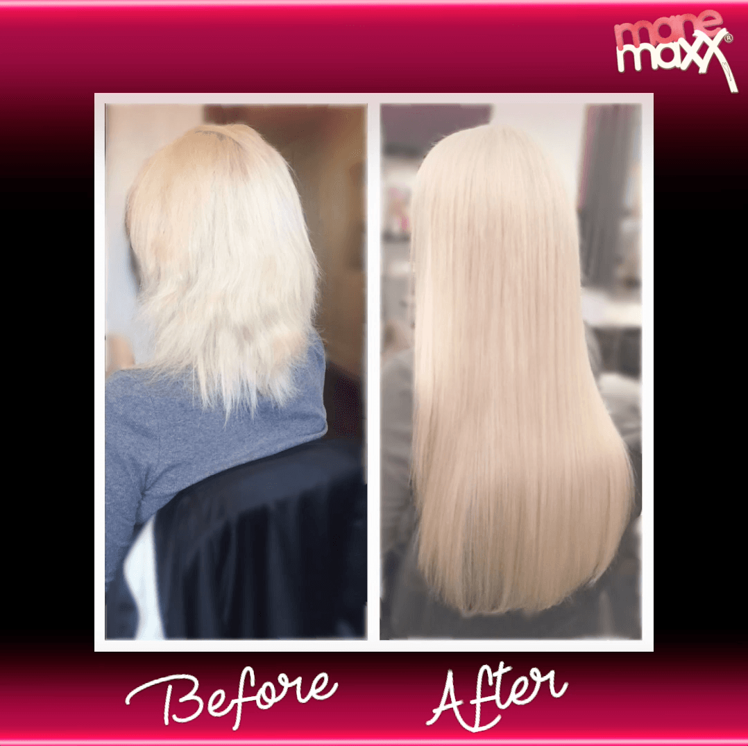 Before and After ManeMaxx Hair Extensions